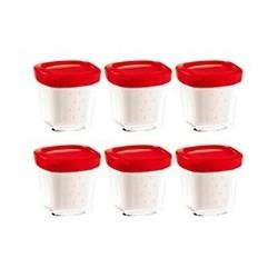 6 pots yaourtière multi délices express couvercle rouge XF100501