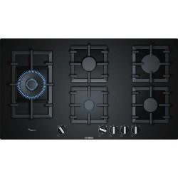 Taque au gaz Bosch PPS9A6B90 90cm Série6 Verre noir