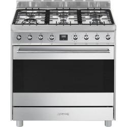 Cuisinière Mixte Gaz et électrique Gaz Smeg C9GMX9-1 Inox 90 cm